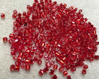 8/0 Red Silver Lined Hex Cut Miyuki Seed Beads 911