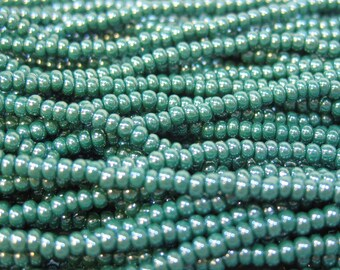 11/0 Dark Green Opaque Luster Genuine Czech Glass Preciosa Rocaille Seed Beads 18 grams