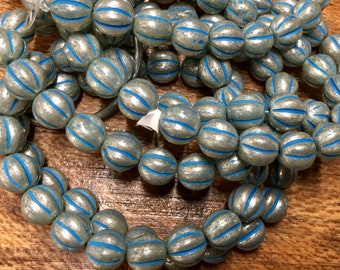 8mm Melon Beads Pale Turquoise Silver Mercury Finish Czech Pressed Glass Round Corrugated Melon Beads 8mm 20 beads