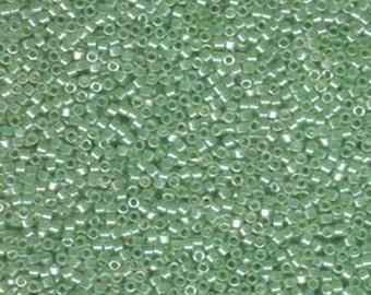11/0 Miyuki Delica Light Spring Green Mint Luster Glass Seed Beads 7.2 grams DB1483