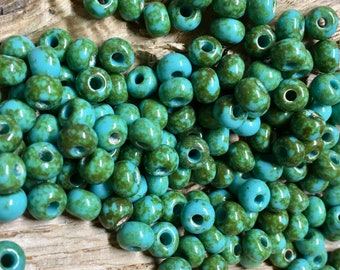 2/0 Opaque Travertine on Turquoise Preciosa Genuine Czech Glass Picasso Seed Beads 20 grams F207