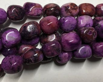 Crazy Lace Agate Purple 8x10mm Gemstone Nuggets Approx 19 beads 8 Inch strand