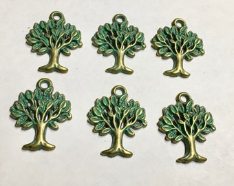 6 Green Patina Tree of Life Single Sided Tree Charms 22mm x 17mm F325