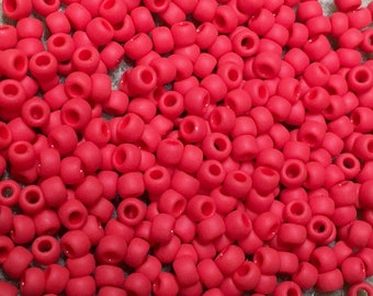 8/0 Opaque Frosted Cherry Red Toho Glass Seed Beads 2.5 inch tube 8 grams TR-08-45AF
