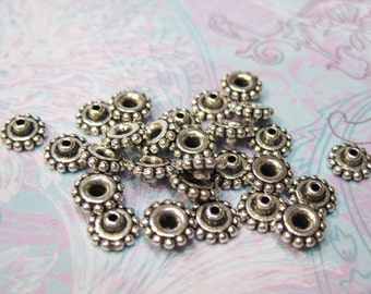 10 Tierra Cast Antique Silver Amazing Bead Aligners for Large Hole Beads Lead Free Pewter 8mm