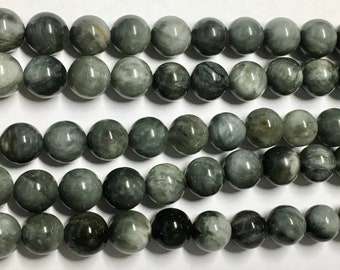 Hawks Eye 8mm Natural Smooth Gemstone Rounds Approx 24 beads 8 Inch strand