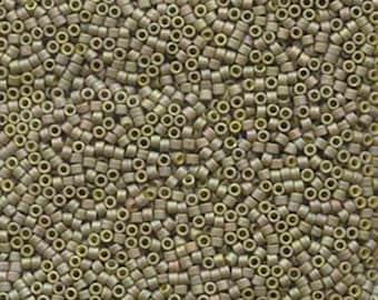 11/0 Miyuki Delica Matte Metallic Light Yellow Glass Seed Beads 7.2 grams DB372