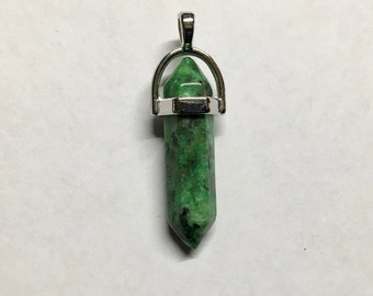 Ruby Zoisite Gemstone Pendulum Pendant with Bail Double Sided 40mm Overall Length 1 pendant