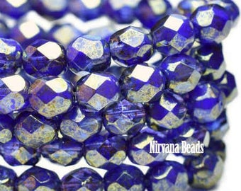 Indigo Blue Opaque Grape Transparent Crystals 6mm Czech Fire polished Crystal Beads 25 beads