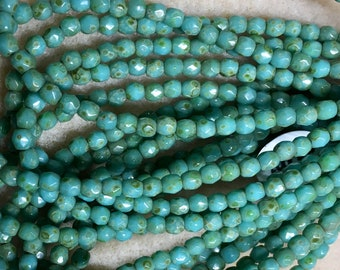 Turquoise Picasso Czech Glass Firepolished Crystal Beads 3mm Approx 50 beads