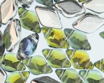 GemDuo Backlit Uranium Two Hole Gem Duo Czech Glass Beads 5x8mm 8 grams
