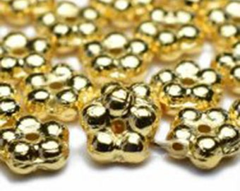 Daisy Flower Spacers Gold Metallic Opaque Teeny Tiny Czech Glass Buttercup Daisy Disk Spacer Forget Me Not Beads 5mm 50 beads