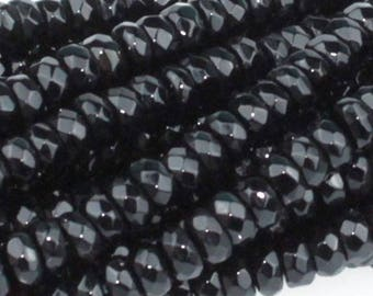 Black Onyx 4mm Faceted Gemstone Rondelle Beads Approx 85 beads 8 Inch strand