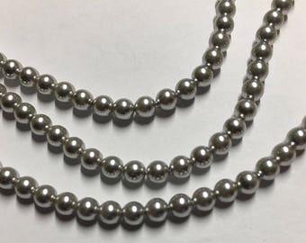 Light Grey Pearl Swarovski Glass Pearls 4mm 5810 25 pearls