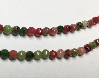 White Jade Dyed Zoisite Multi Color Faceted 4mm Gemstone Beads Rounds Approx. 49 beads 8 inch Strand