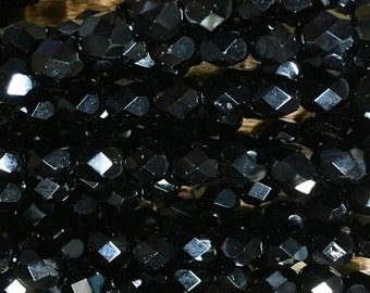 6mm Black Opaque Czech Glass Fire polished Crystal Beads 25 beads