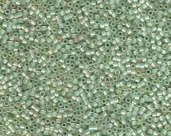 11/0 Miyuki Delica Opal Sea Green Silver Lined Glass Seed Beads 7.2 grams DB1454