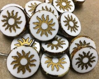 Sun Beads White Picasso with Gold Chunky Coin Carved Czech Pressed Glass Table Cut Beads 1 Bead