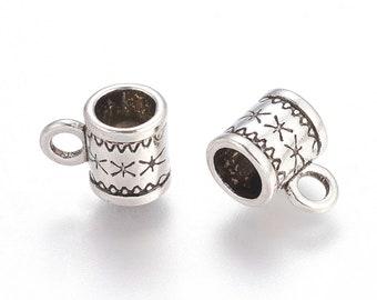 Bail Beads Antique Silver Charm Holders Hanger Links with Column Star Pattern Tibetan Style 11x8x6mm 20 pcs F566