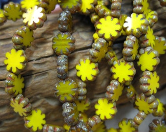 25 Mix of Opaque Yellow Czech Pressed Glass Flat Cactus Flower Beads with Picasso Edges 9mm x 3mm