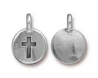 Cross Charm Religious Antique Silver Small Cross TierraCast Lead Free Pewter 17mm x 12mm One charm F450