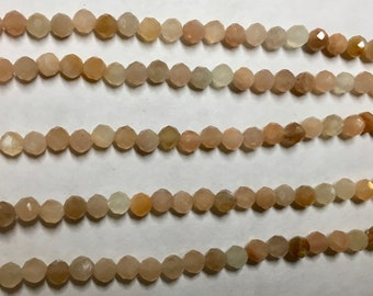 Sunstone 4mm Faceted Gemstone Round Beads Approx 50 Beads