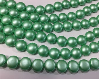 Seafoam Pastel Light Green Two Hole Candy Beads Czech Pressed Glass 8mm 20 beads