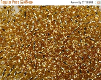 ON SALE 11/0 Silver Lined Gold Japanese Seed Beads 6 Inch Tube 28 grams #4