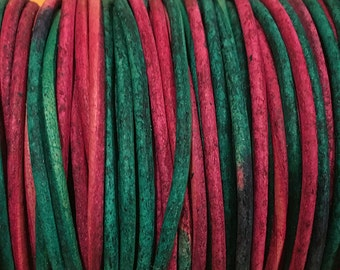 2mm Gypsy Dyed Sunset Leather Cord Red Green 6 yards for Wrap Bracelets Macrame Knotting Jewelry