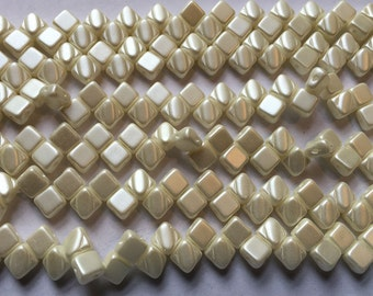 Pastel Light Cream Off White Two Hole Silky Czech Pressed Glass 6mm Two Hole Angled Square Beads 40 pcs
