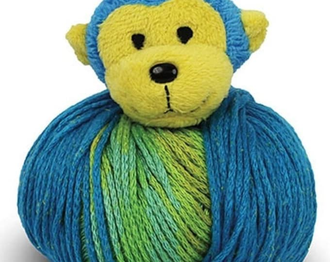 Featured listing image: ON SALE Yellow and Blue Monkey Knitting Hat Kit Kids Teens Hat Kit Top This by DMC