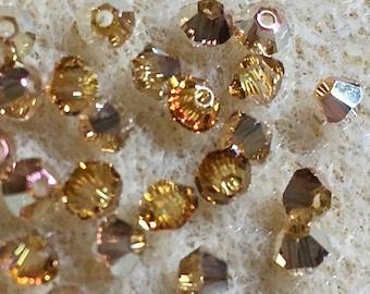Crystal Metallic Sunshine 5328 Bicone Swarovski 3mm Crystal Beads 48 beads