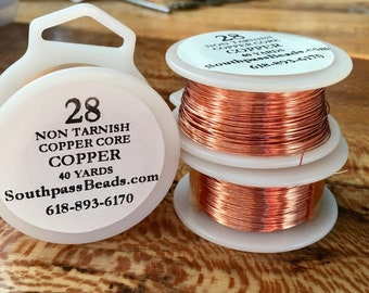28 gauge Natural Copper Non Tarnish Craft Wire 40 yards Made in USA