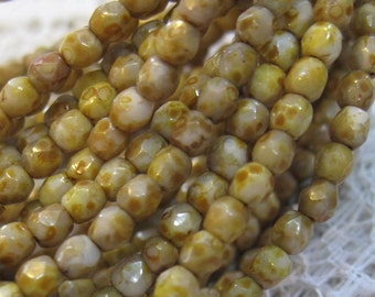 Champagne Picasso Stone Look Czech Glass Firepolished Crystal Beads 3mm 50 beads