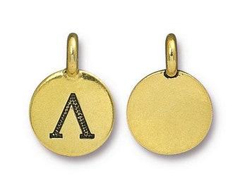 Lamda Greek Letter Pendant Tiny Gold Charm TierraCast Antique Gold Greek Letter Charm TierraCast Lead Free Pewter 16.5x11.5mm One Charm