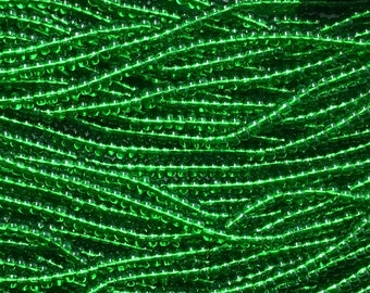 1/0 Kelly Green Transparent Large Hole Czech Glass Seed Beads Big Seeds One Strand