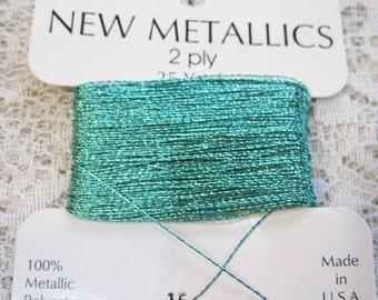 Aquamarine Metallic Polyester Thread 2 ply .30mm 25 yards