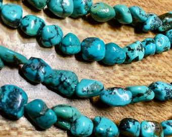 Chinese Turquoise Blue Gemstone 8mm to 12mm Variable Shapes Sizes Nugget Beads Approx 25 beads 8 inch strand