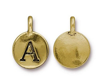 "Letter ""A"" Initial Pendant Tiny Gold Charm TierraCast Antique Gold Alphabet Charms TierraCast Lead Free Pewter 16.5x11.5mm One Charm"
