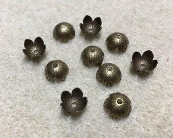 Antique Bronze Tone Large Fancy Flower Bead Caps Antique Brass 9x4mm 20 pcs