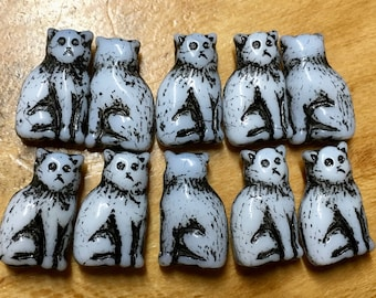 Sitting Kitty Cat Czech Pressed Glass Beads White with Black Detail Double Sided 15mm 10 beads