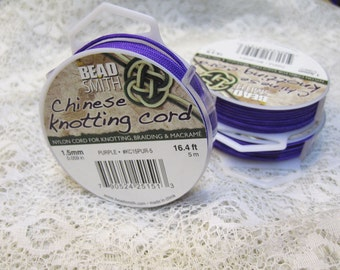 CLEARANCE Chinese Knotting Cord You Pick the Color Purple Blue Green White 1.5mm 16.4 ft per spool