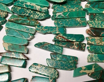 Aqua Terra Jasper Green Tusk Shapes About 20 to 50mm 8 inch Strand 12mm to 18mm Approx 24 pcs