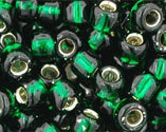 6/0 Silver Lined Green Emerald Toho Glass Seed Beads 2.5 inch tube 8 grams TR-06-36