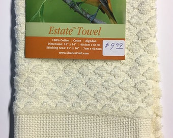 "CLEARANCE Estate Diamond Weave Towel 16 Count 16""X24"" 100% Cotton Aida Border Oriole Bird and Flowers"