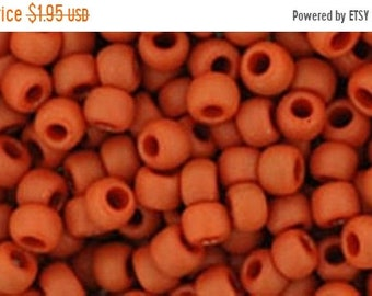 ON SALE 8/0 Opaque Frosted Terra Cotta Toho Glass Seed Beads 2.5 inch tube 8 grams TR-08-46Lf