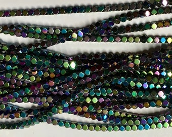 Rainbow Manmade Electroplated Hematine Cornerless Cube Beads 3mm x 3mm About 135 beads 16 inch Strand