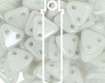 Luster Opaque White Two Hole Czech Mates Czech Glass Triangle Beads 6mm 9 grams TRI06-L03000