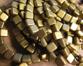 Antique Gold Satin Matte Czech Mates Two Hole Tile Beads Czech Pressed Glass Square Beads 6mm