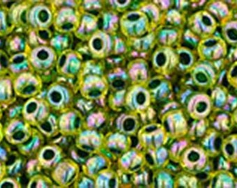 11/0 Rainbow Jonquil Forest Green Lined Toho Glass Seed Beads 2.5 inch tube 8 grams TR-11-1829